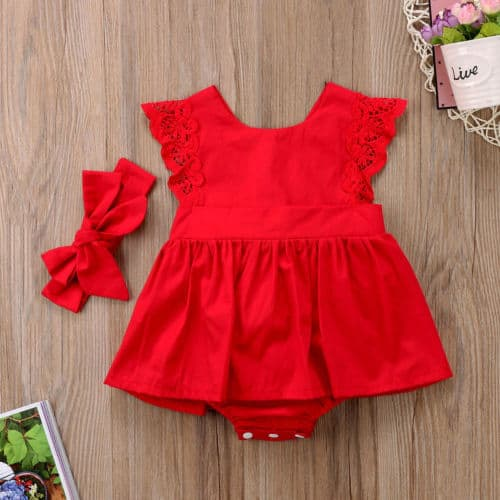 Romper Dress Toddler's Red Outfit
