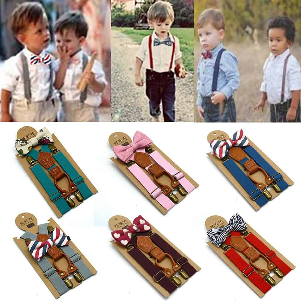 Children Outfits for Boys: Suspenders Bow Tie Set